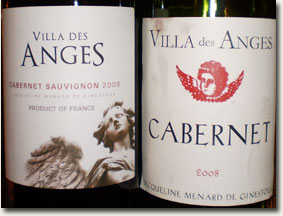 Old & New versions of the Villa des Anges Cabernet label, same vintage