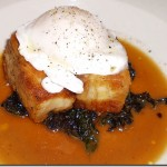 The Cooks' House pork belly sauteed w/ poached duck egg and braised winter greens