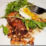 The Cooks' House sweetbreads w/ quail egg, hazelnuts, mizuna
