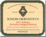 1975 Schloss Groenesteyn Kiedricher Sandgrub Riesling Kabinett Rheingau