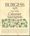 1976 Burgess Cellars Napa Cabernet Sauvignon