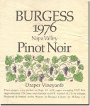 1976 Burgess Cellars Napa Pinot Noir Draper Vineyards
