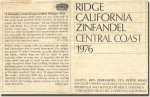 1976 Ridge Central Coast Zinfandel