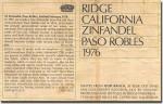1976 Ridge Paso Robles Zinfandel