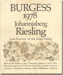 1978 Burgess Cellars Napa Late Harvest Riesling