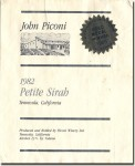 1982 John Piconi Temecula Petite Sirah